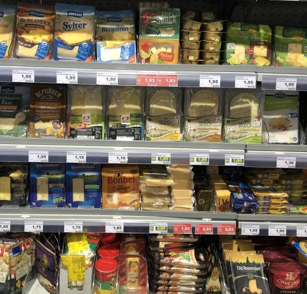 Display of cheeses at German supermarket