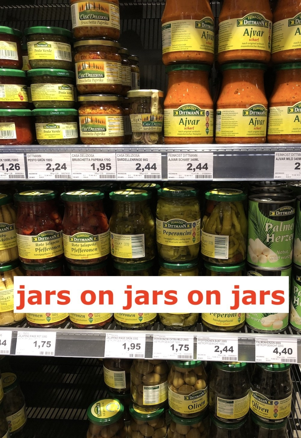 Display of jarred goods at German supermarket