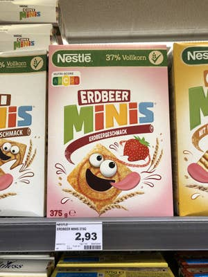 Display of American-influenced cereal at German supermarket