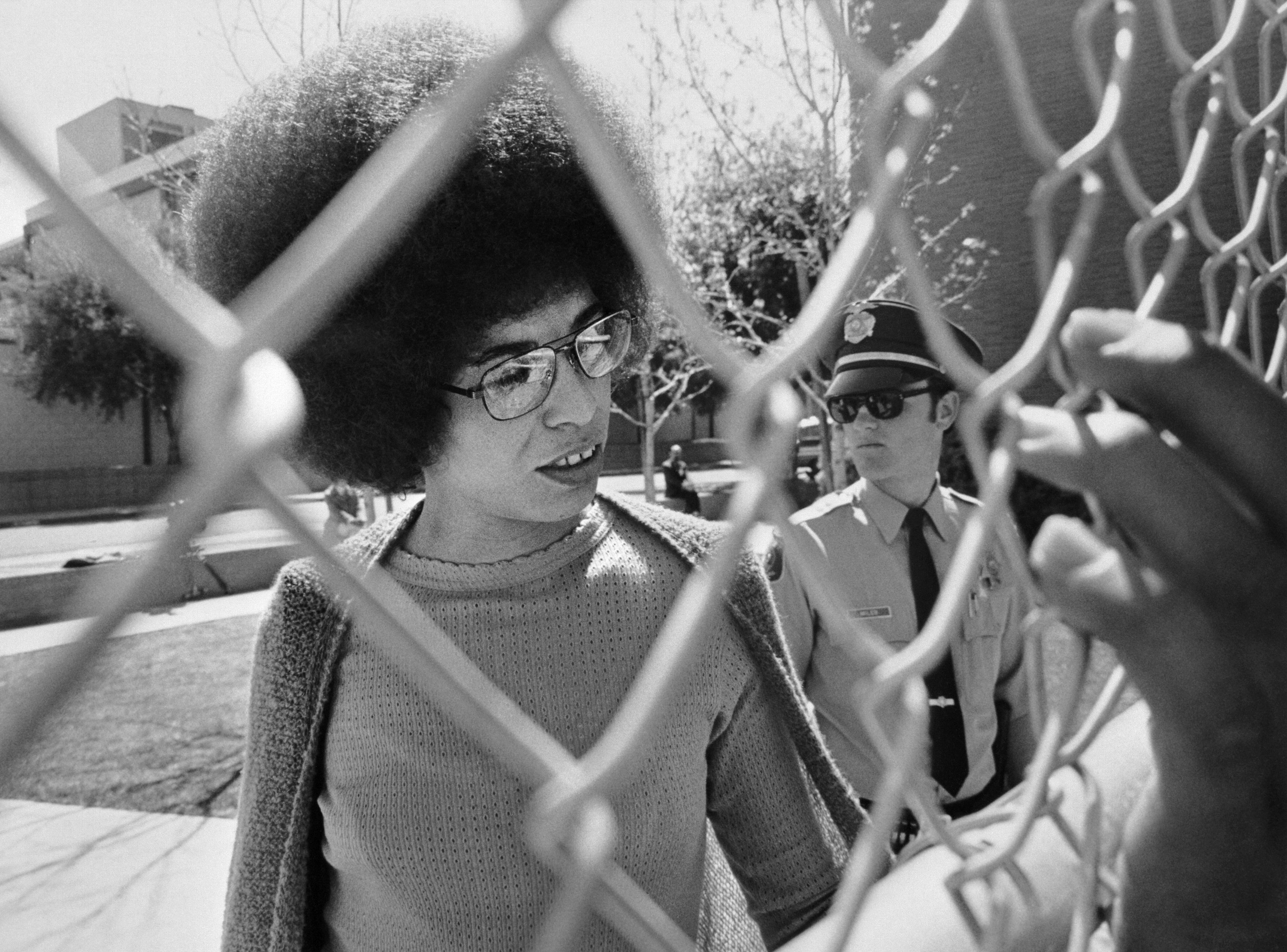 Picture released on April 1972 of US communist militant Angela Davis arriving at the court for her trial , in San Jose.