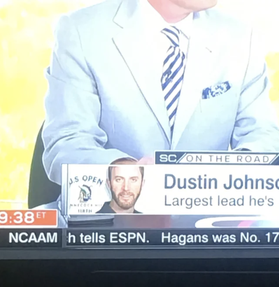 A man's arm and cuff complete the image of a man on a chyron at the bottom of the screen