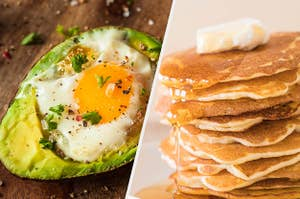 Avocado baked egg and pancakes with butter and syrup