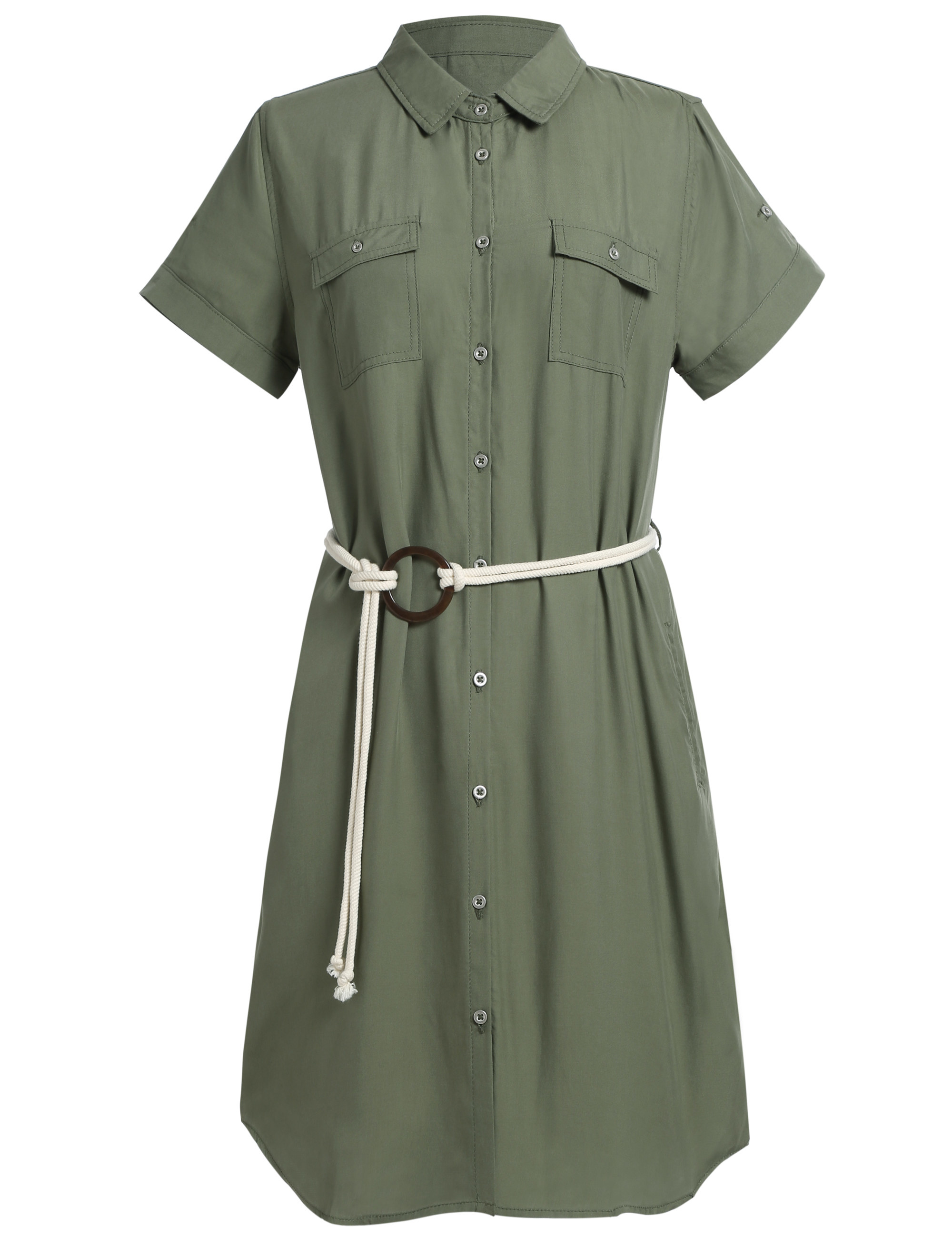 the t-shirt dress with buttons all the way down in olive green
