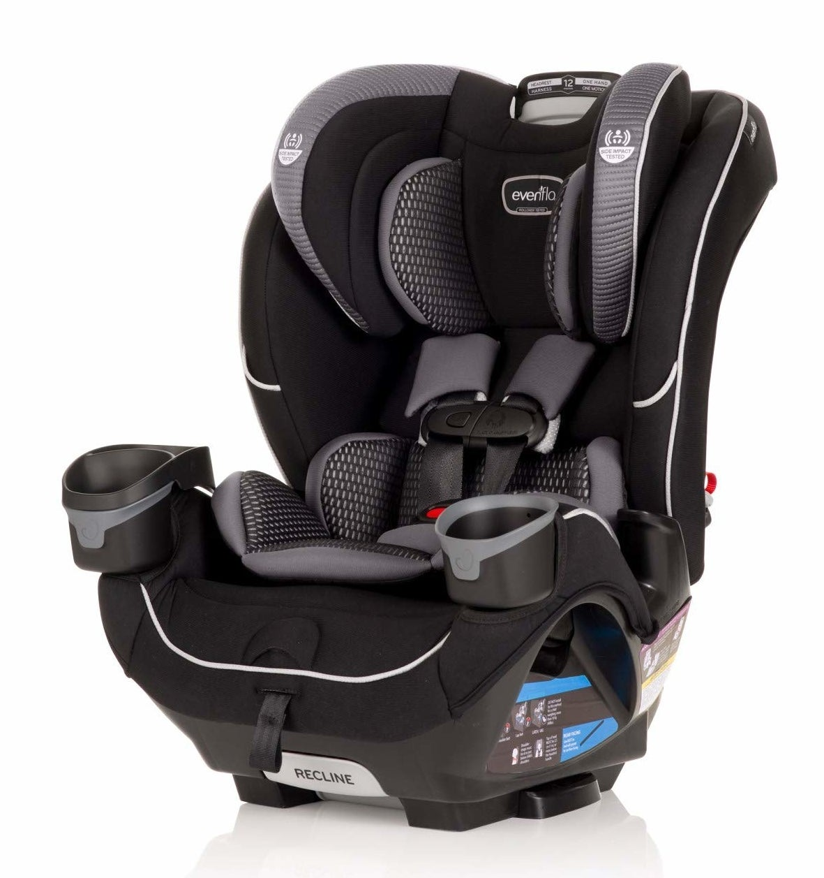 A black car seat with gray and silver accents