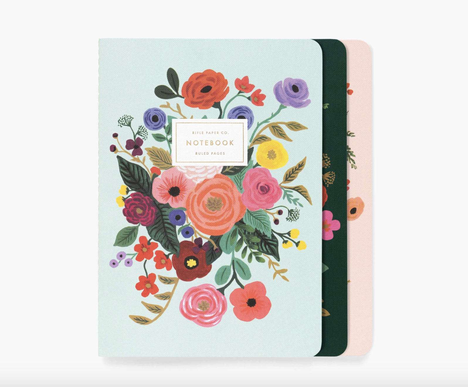 set of three floral notebooks