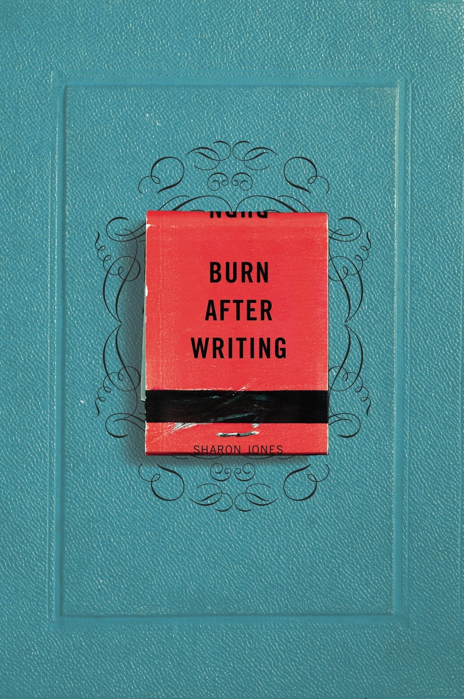 the turquoise cover with a matchbox on it
