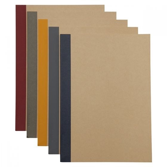 a set of Muji notebooks that have different spine colors