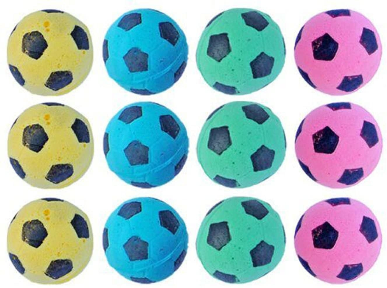 Tiny yellow, blue, green, and pink soccer balls
