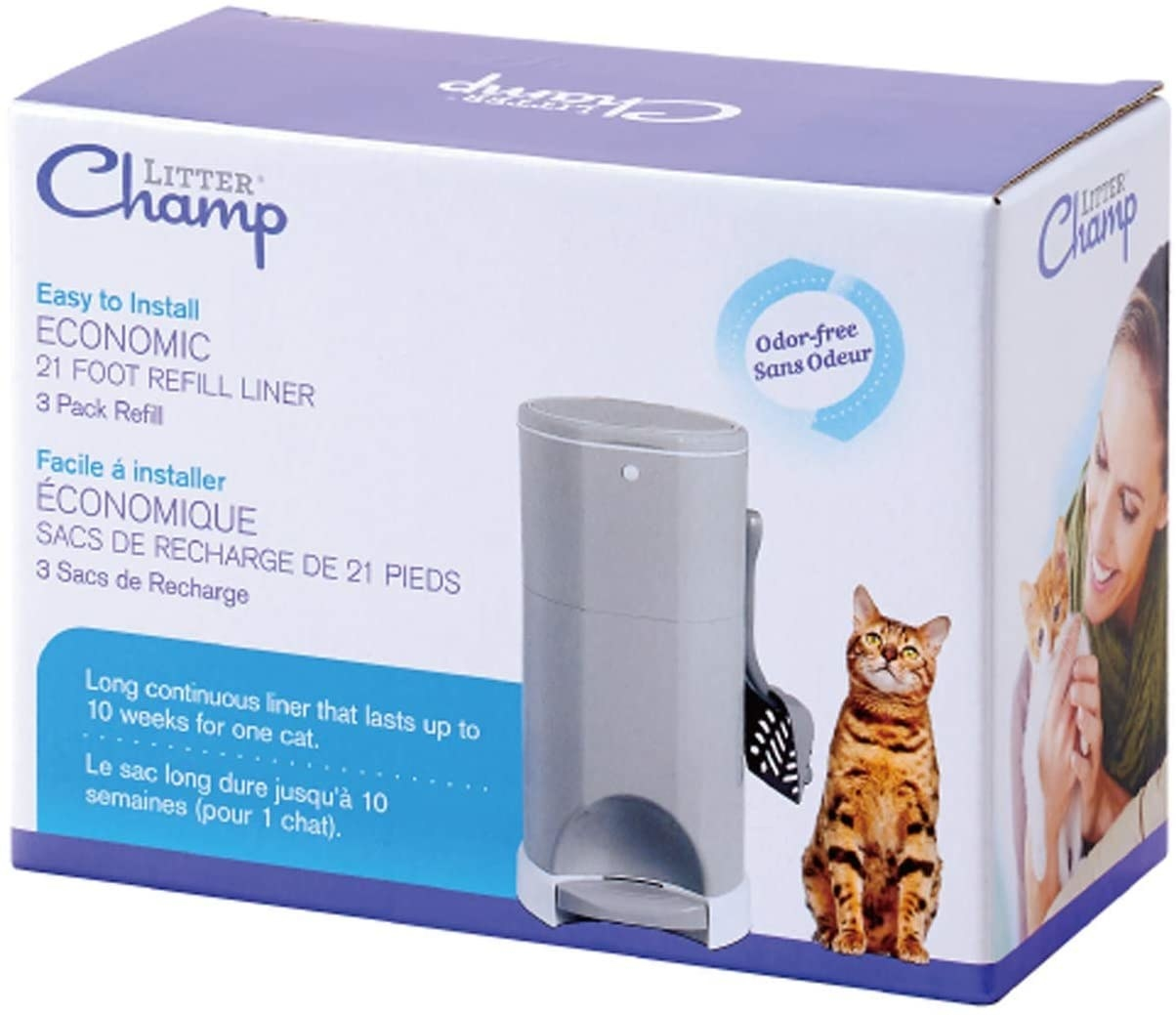 White and purple box of cat refill liners