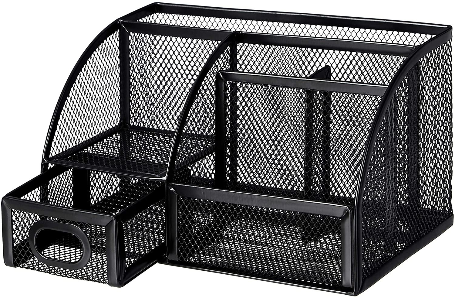 A mesh organizer with various slots and one drawer