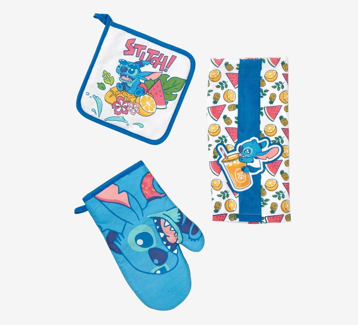 stitch oven mitt, stitch drinking a juice with fruit towel, and stitch with fruit pot holder