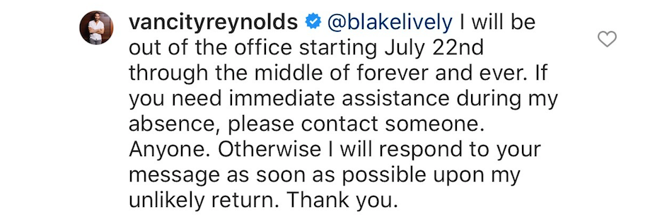 A screengrab of an Instagram comment from Ryan Reynolds
