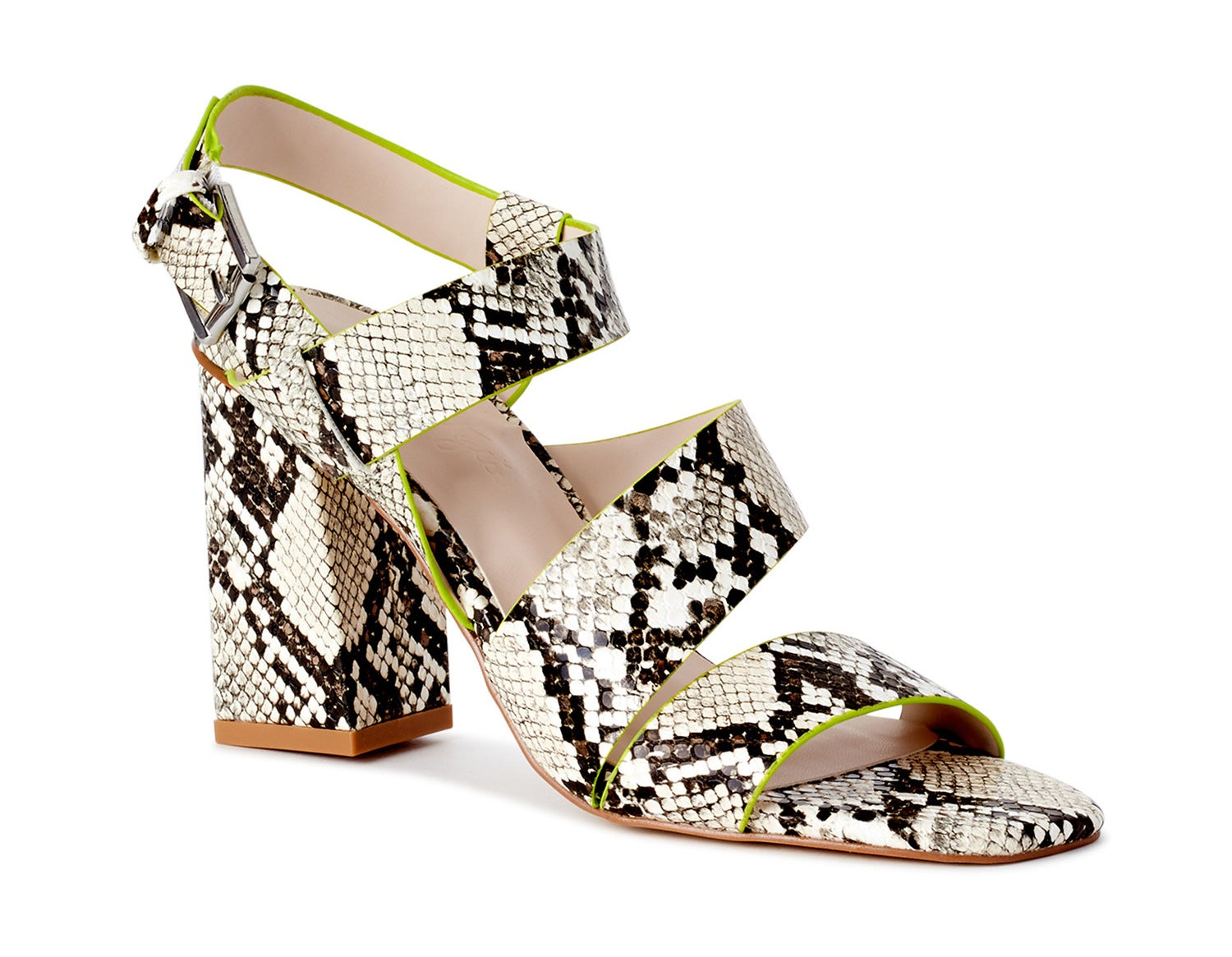A natural snake print with line green accents wedge heel