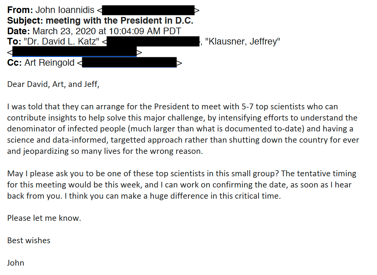 A screenshot of the email from Ioannidis to a group of scientists, dated March 23