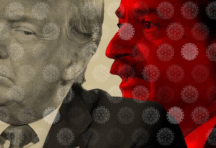 Illustration of John Ioannidis appearing to speak into President Trump's ear