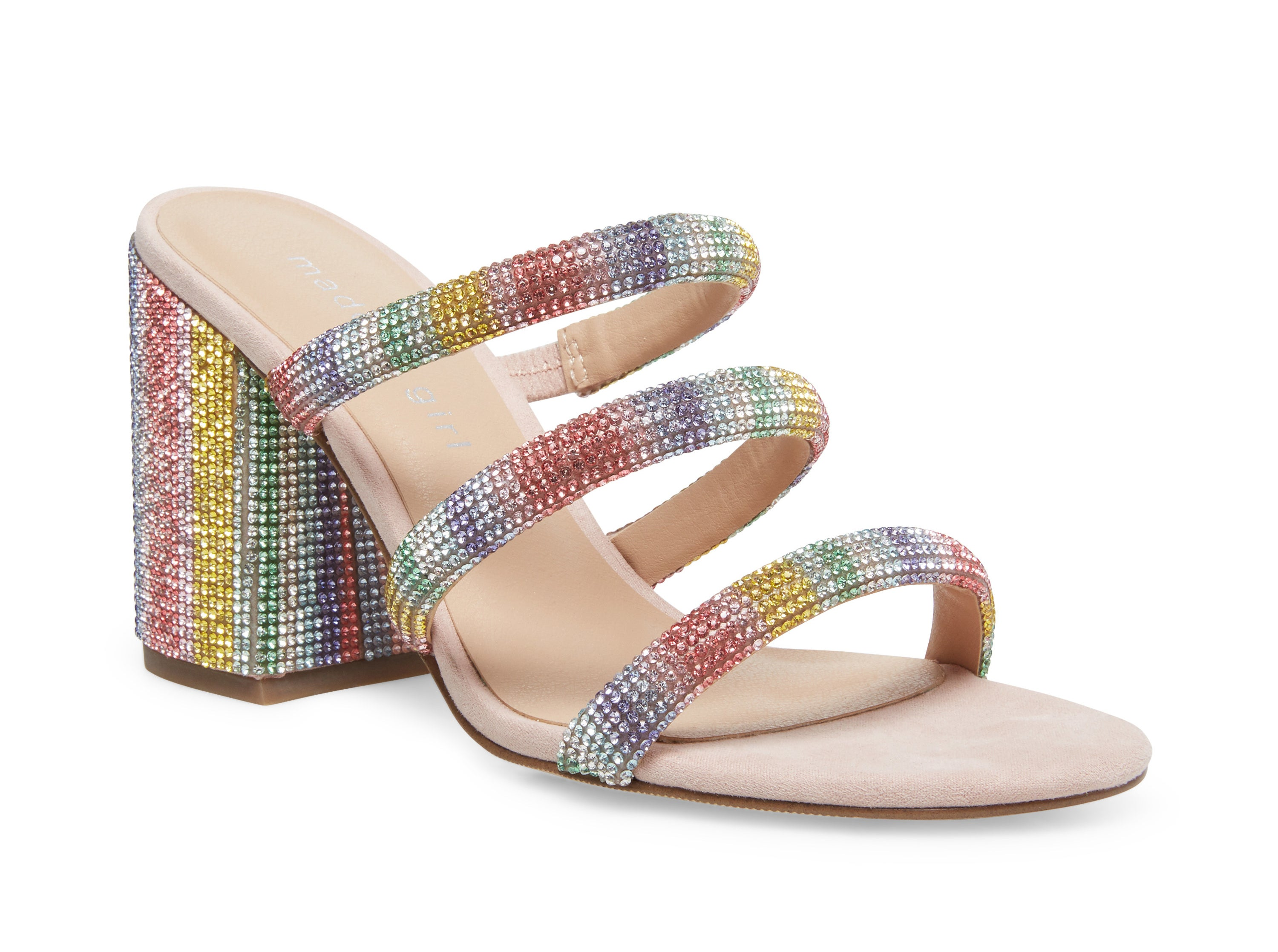 A rainbow-colored block heel sandal