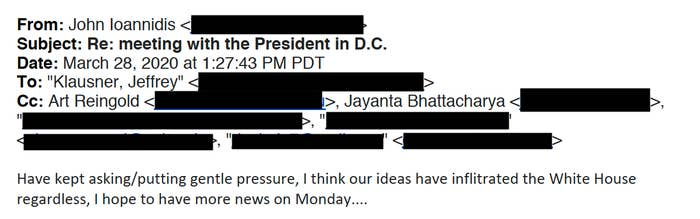 A screenshot of the email from Ioannidis, dated March 28.