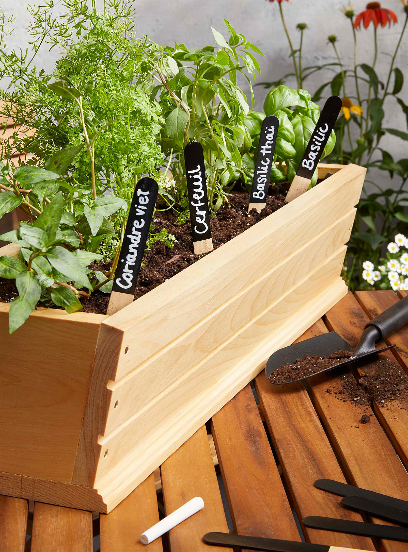 Four reusable garden markers in a flower box filled with plants