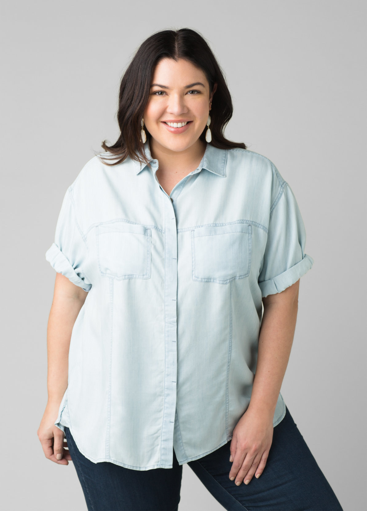 model in the collared shirt