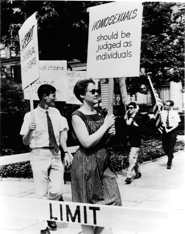 Barbara Gittings picketing the White House in 1965.