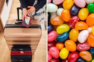 On the left, someone stands in front of a small suitcase and a large suitcase with a passport in their hand, and on the right, various jelly beans