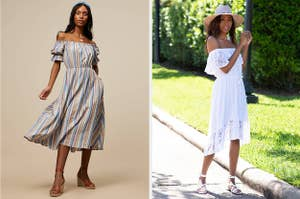 to the left: a model in an off shoulder vertical striped dress, to the right: a model in a white lace off the shoulder dress