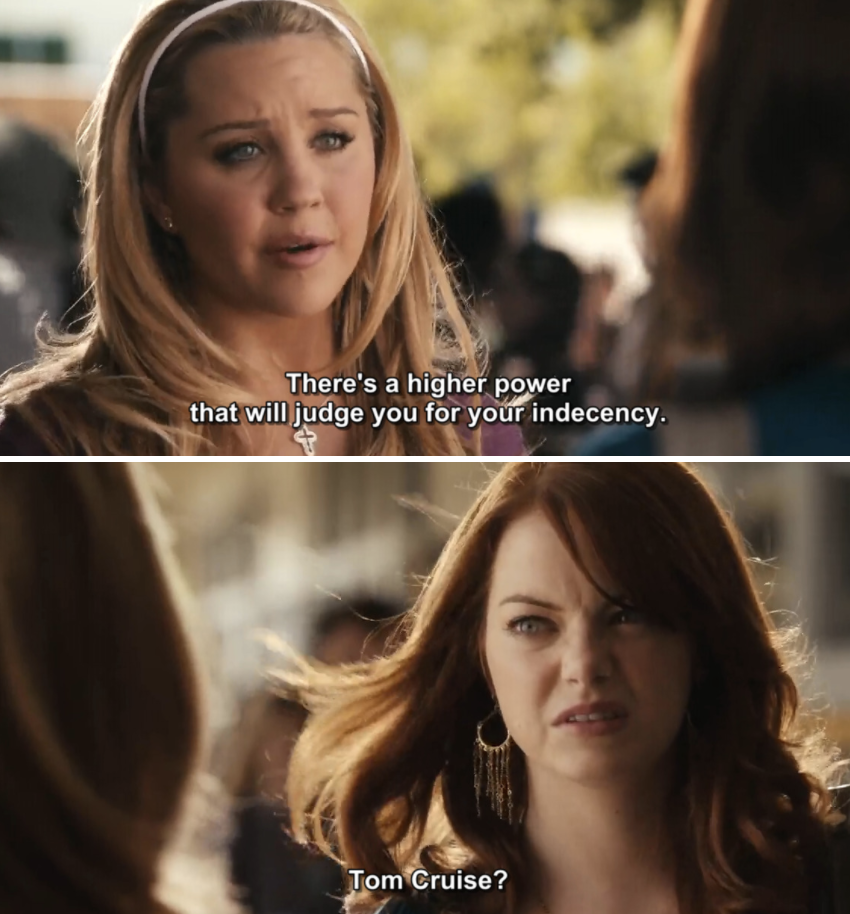 Amanda Bynes talking to Emma Stone's character in Easy A