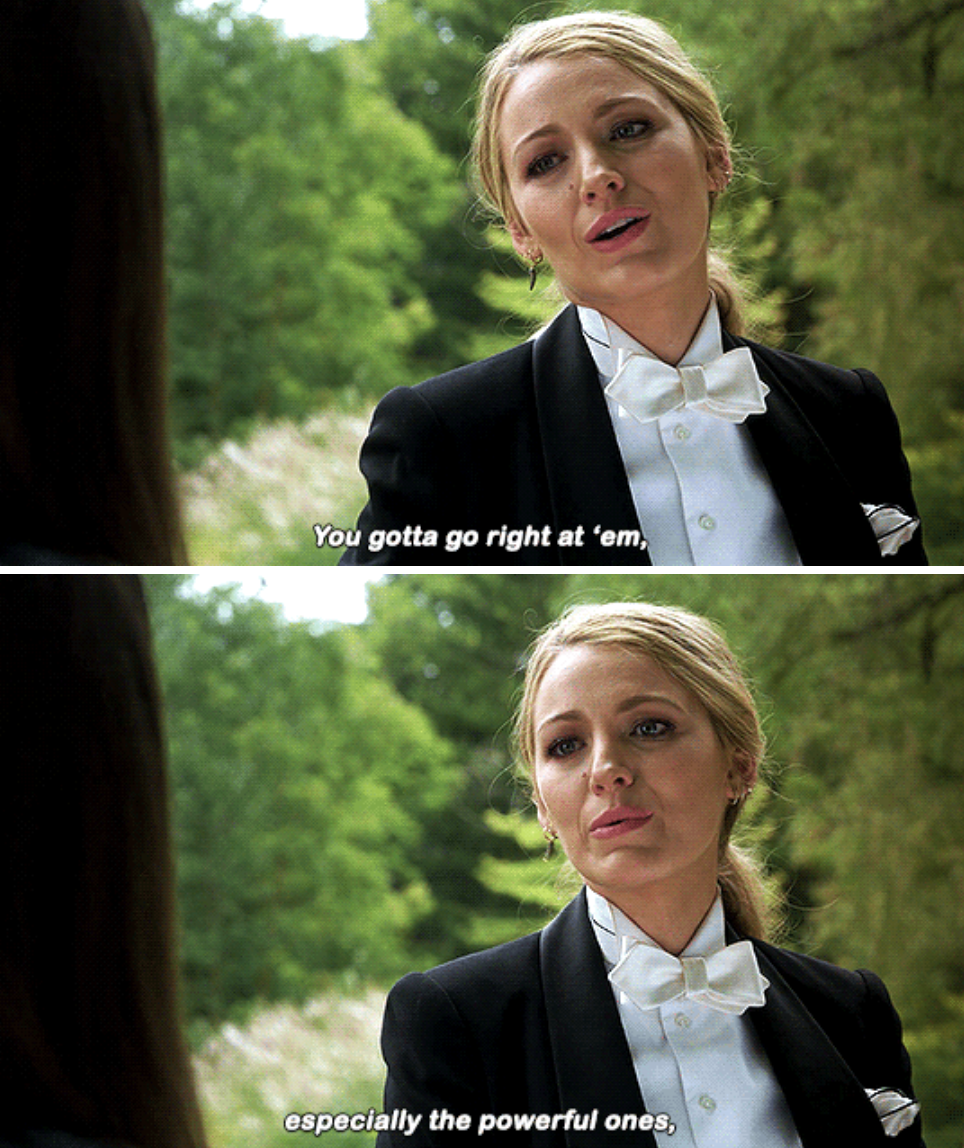 Blake Lively being forceful in A Simple Favor