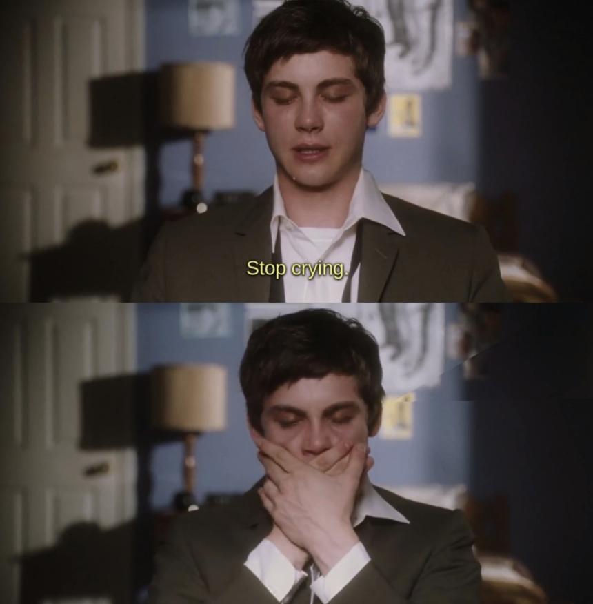 Logan Lerman crying in Perks