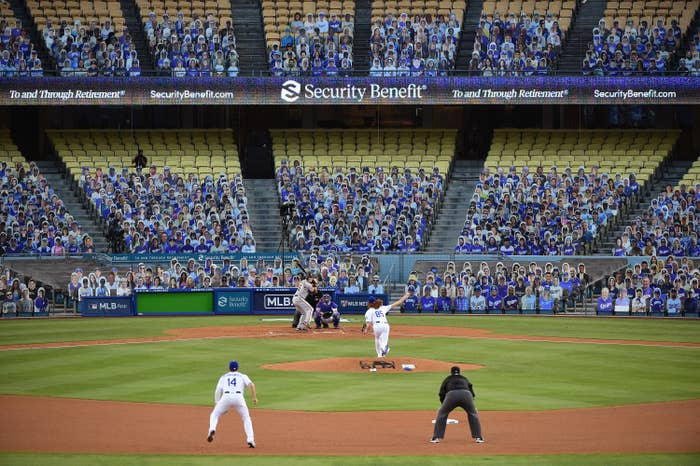 Dodger's stadium on opening night