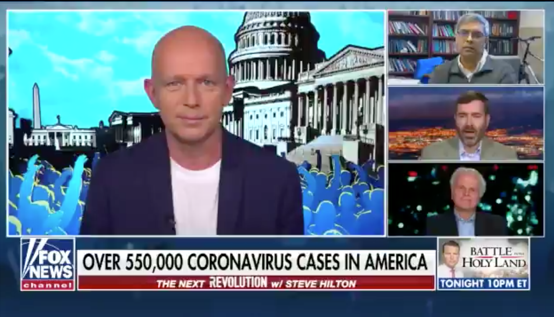 "A screenshot of four men talking on a tv show on Fox, with a chyron that reads ""over 550,000 coronavirus cases in America"""