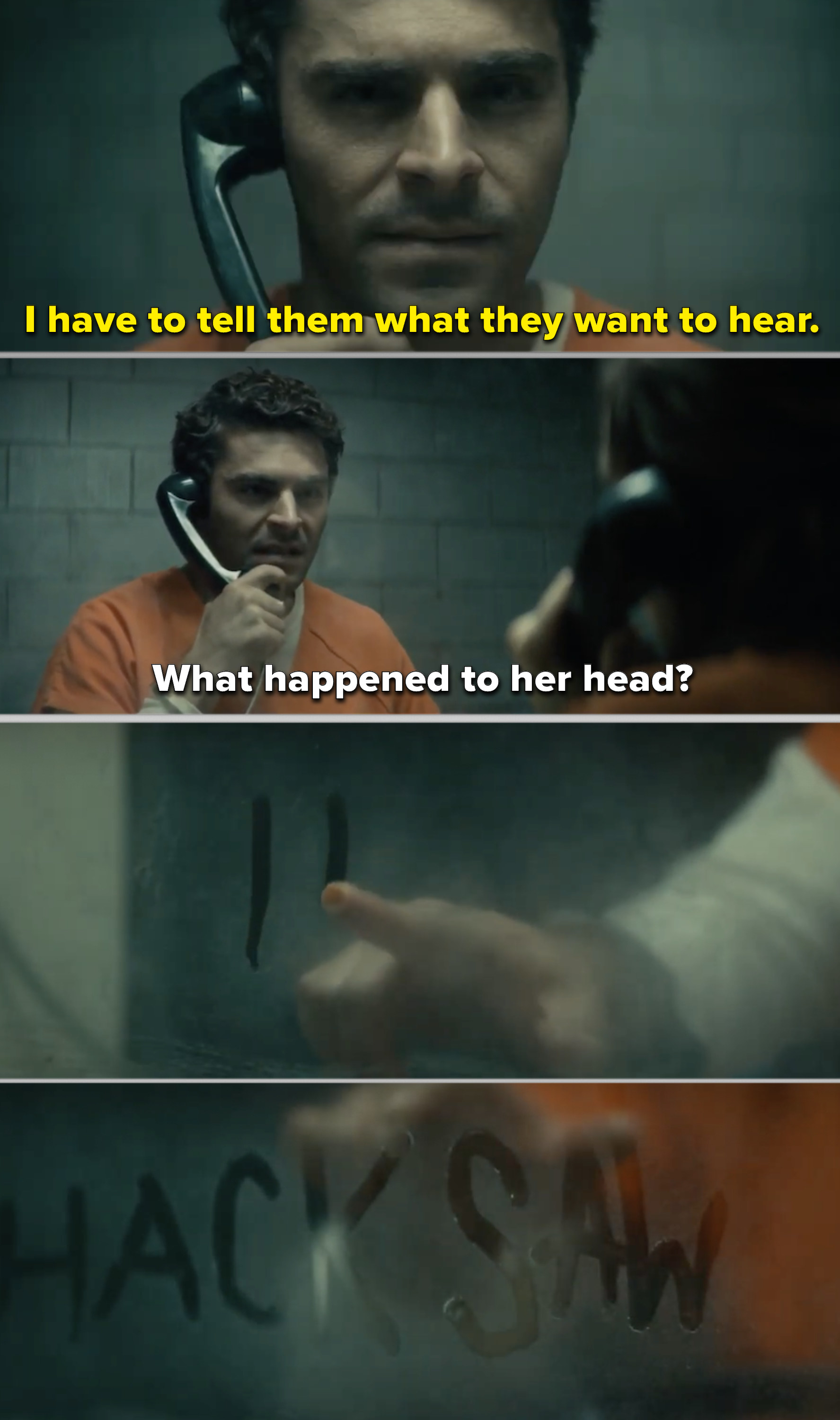 Zac Efron as Ted Bundy being confronted in prison in Extremely Wicked, Shockingly Evil and Vile