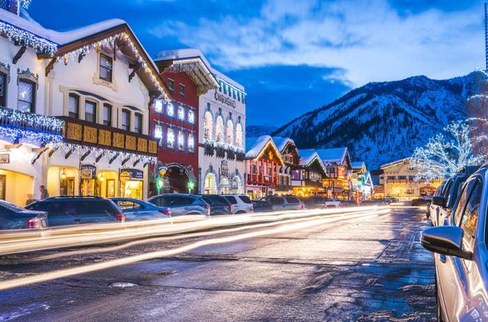 Snowy, well-lit street in Leavenworth