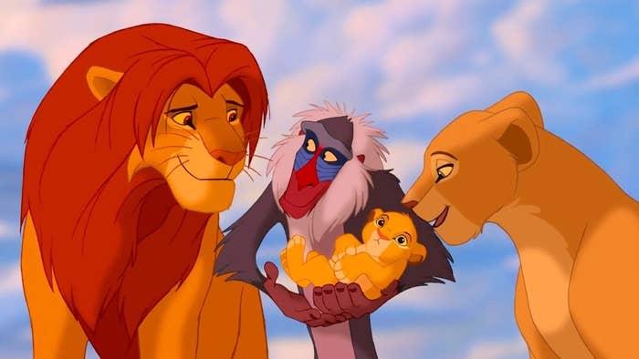 "Simba, Nala, Rafiki, and Simba from ""The Lion King"""