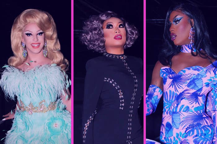 A promotional photo of Miz Cracker, Jujubee, and Shea Couleé in their entrance looks