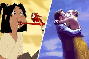 Mulan eating breakfast as a couple kisses passionately