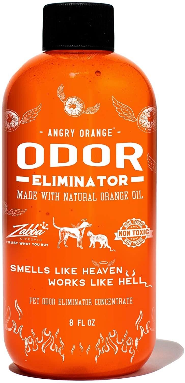A bright orange bottle of odor eliminator