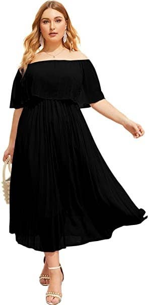 plus-size model wearing a solid black off the shoulder maxi dress]