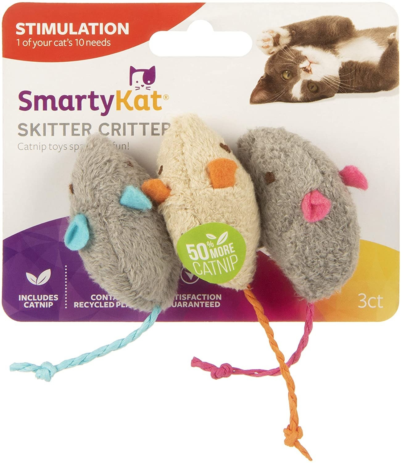 Three stuffed mice catnip toys on colorful packaging