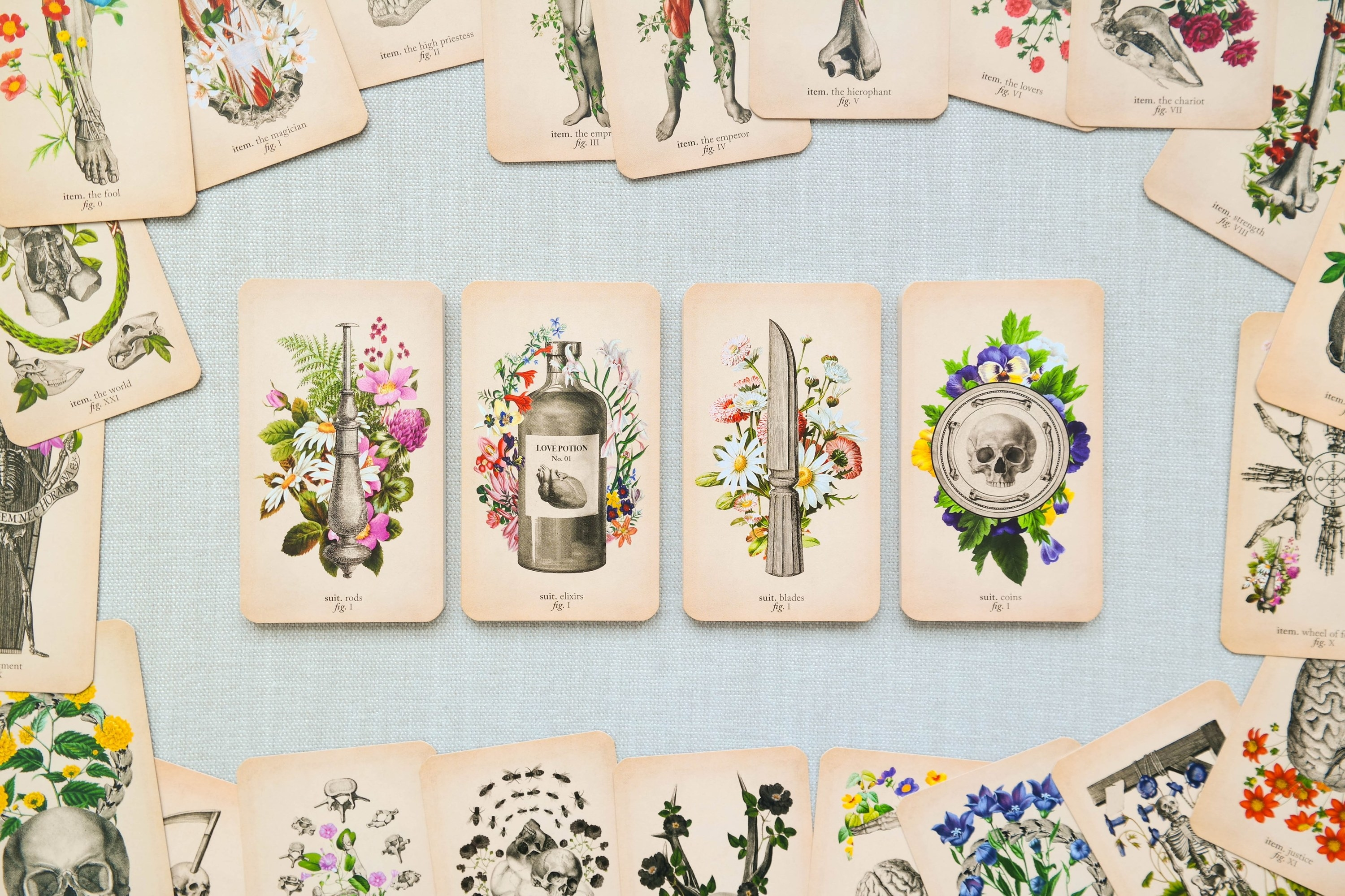 The four suits of the Antique Anatomy deck lay in four decks, face up, showing the ace of rods, of elixirs, of blades, and of coins, respectively, surrounded by the Major Arcana cards laying face up