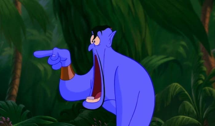 """Genie from """"Aladdin"""" with his mouth open, completely in shock"""