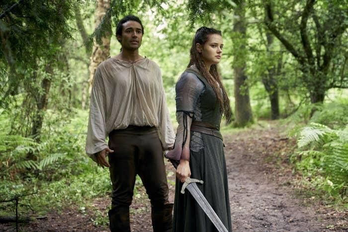 Devon Terrell as Arthur and Katherine Langford as Nimue
