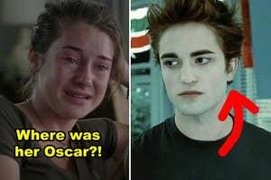 Shailene Woodley in The Descendants and Robert Pattinson in Twilight