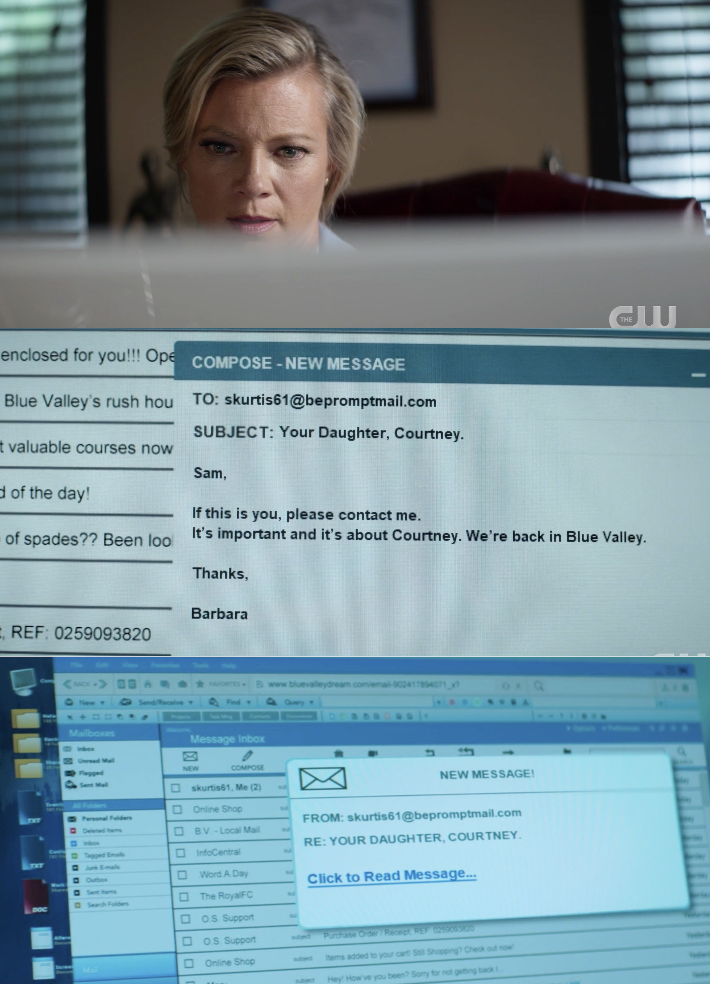 Barbara sending an email to Courtney's supposed dad saying they need to talk and that they are in Blue Valley again