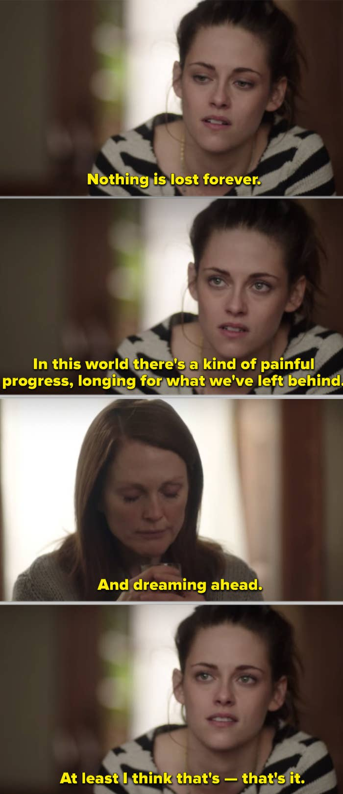 Kristen Stewart in an emotional scene with Julianne Moore in Still Alice