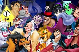 A image of a bunch of Disney villains stand around.