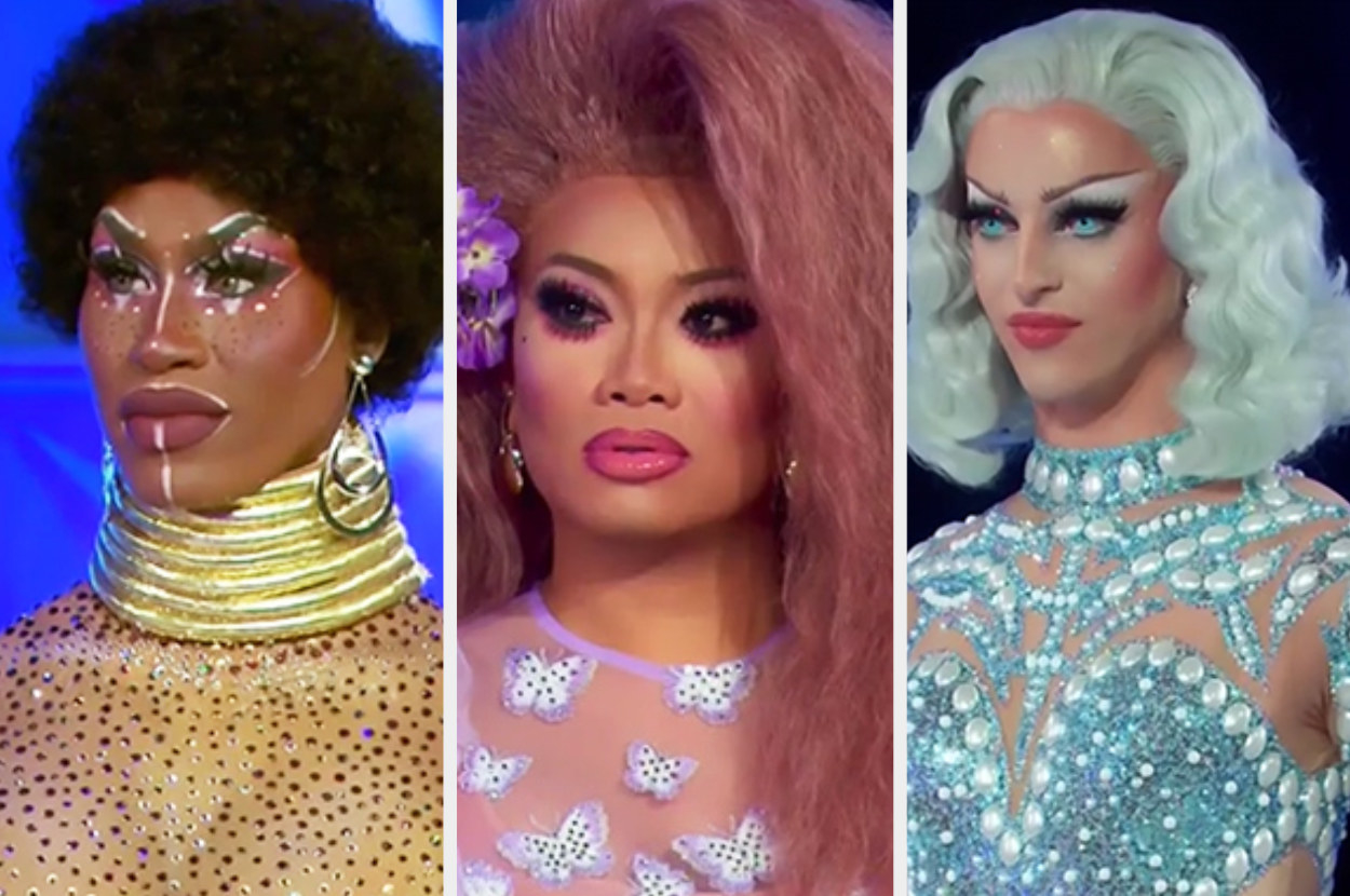 A collage photo of Shea, Jujubee, and Miz Cracker on the runway from throughout the season
