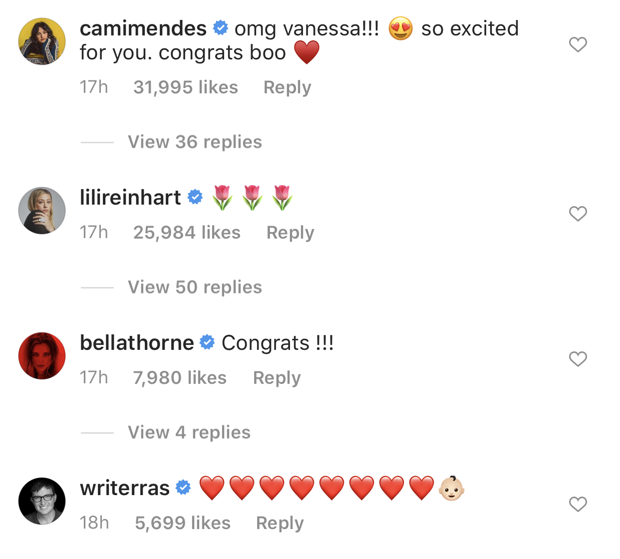 Comments from cast members