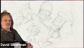 A drawing of Homer strangling Bart while he's wearing a Santa hat — Bart, not Homer
