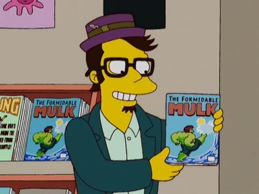 """Jack Black's character holding up a comic book called """"The Formidable Mulk"""""""
